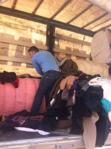 Refugees, pic of clothing delivered in Erbil. Jan 2015