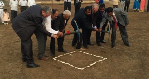 Participants in the ground breaking were, L-R, Dr. John Cook,  Dr. Pramod Tantarpale, Rev. John Ingole, Rev. Sanjay Satyawan, Dr. Dan Iles, Prof. Virsen Agave and Rev. Himmat Mohod.